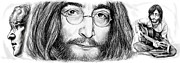 Fame Drawings Framed Prints - John Lennon art drawing sketch poster Framed Print by Kim Wang