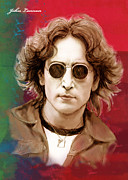 The Beatles Mixed Media - John Lennon art stylised drawing sketch poster by Kim Wang