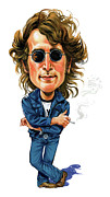 Celeb Painting Framed Prints - John Lennon Framed Print by Art