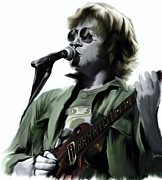 Images Drawings - John Lennon Bring It On by Iconic Images Art Gallery David Pucciarelli