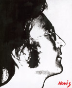 Beatles Painting Originals - John Lennon bw by Barry Novis