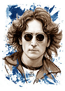 Beatles Mixed Media - John lennon colour drawing art poster by Kim Wang