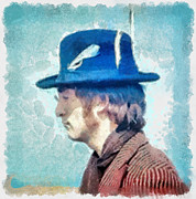 John Lennon - Feathers In His Hat Print by Paulette B Wright