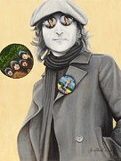 Rubber Soul Prints - John Lennon-Give Peace A chance Print by Anne Provost