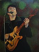 Rock And Roll Painting Originals - John Lennon in Performance by Suzanne Giuriati-Cerny