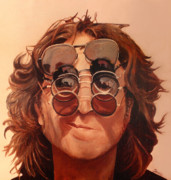 The Beatles. Celebrity Portraits Prints - John Lennon Print by Janice Dunbar