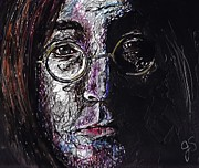 Beatles Drawings - John Lennon by Joyce Sherwin