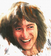 Laughing Mixed Media Posters - John Lennon Laughing Poster by CJ Grant