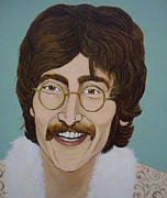 George Harrison Paintings - John Lennon by Linda Kassabian