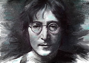 Beatles Digital Art Posters - John Lennon  Poster by Lyubomir Kanelov