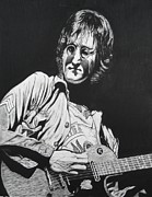 John Lennon  Drawings Metal Prints - John Lennon Madison Square Garden Metal Print by Charles Rogers