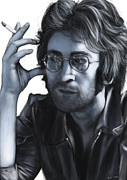 Yoko Digital Art Posters - John Lennon Poster by Michael Tiscareno