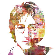 Watercolor Mixed Media Framed Prints - John Lennon Framed Print by Mike Maher