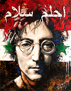 Lead Mixed Media Framed Prints - John Lennon. On the Syrian flag Framed Print by Vitaliy Shcherbak