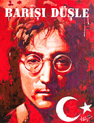 John Lennon Mixed Media Originals - John Lennon. on the Turkish flag by Vitaliy Shcherbak