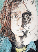 Rock N Roll Drawings Prints - John Lennon Print by Pat Byrne