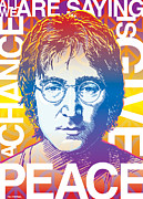 Beatles Digital Art Metal Prints - John Lennon Pop Art Metal Print by Jim Zahniser