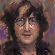 Beatles Painting Originals - John Lennon portrait by Dominique Amendola