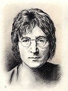 Fab Four Drawings Framed Prints - John Lennon portrait Framed Print by Wu Wei