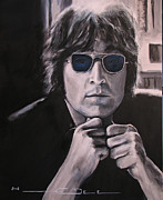 The Beatles John Lennon Drawings - John Lennon - Shades of Blue by Eric Dee