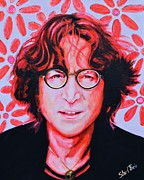 Singer Painting Originals - John Lennon by Shirl Theis