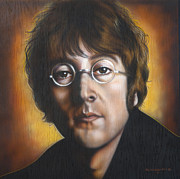 Celebrity Portrait Framed Prints - John Lennon Framed Print by Tim  Scoggins