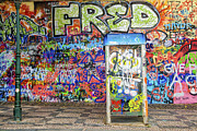 Czech Republik Framed Prints - John Lennon Wall in Prague with colorful graffiti Framed Print by Matthias Hauser