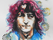 Musician Greeting Cards Paintings - John Lennon..Up Close by Chrisann Ellis