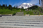 Green Day Art - John Muir Quote at Mt Rainier by Bob Noble Photography