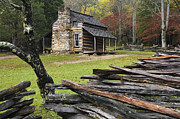 Split Rail Fence Photo Metal Prints - John Oliver Cabin - D000352 Metal Print by Daniel Dempster