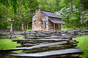 Split Rail Fence Prints - John Oliver Cabin in Cades Cove Print by John Haldane