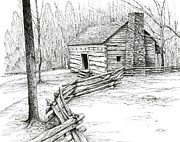 Tennessee Drawings Originals - John Ownby Cabin by Bob  George