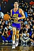 Dunk Metal Prints - John Stockton Portrait Metal Print by Florian Rodarte