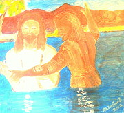Baptism Painting Originals - John the Baptist Baptizing Jesus in River Jordan by Immersion by Richard W Linford