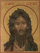 St John The Russian Painting Metal Prints - John the Baptist Metal Print by Rebecca LaChance Iconography