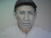 Baseball Pastels Posters - John Tortes Chief Meyers Poster by Sandra Lytch