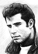 John Art Drawings - John travolta art drawing sketch portrait by Kim Wang