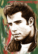 Dancer Art Mixed Media Prints - John Travolta - stylised drawing art poster Print by Kim Wang