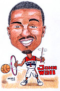 Nba Drawings Framed Prints - John Wall Framed Print by Paul Nichols