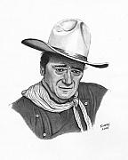 John Wayne Prints Drawings Framed Prints - John Wayne #1 Framed Print by Jay Kinney