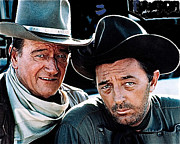 Dorado Posters - John Wayne and Robert Mitchum El Dorado 1967 publicity photo Old Tucson Arizona 2012 Poster by David Lee Guss