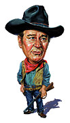 Caricatures Painting Prints - John Wayne Print by Art