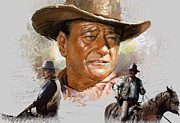 Film Mixed Media Metal Prints - John Wayne Metal Print by Viola El