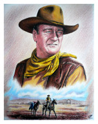 Patriotic Drawings Framed Prints - John Wayne Captured Framed Print by Andrew Read