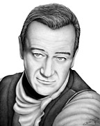 Western Pencil Drawings Posters - John Wayne Poster by Charles Champin