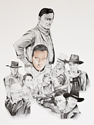 Cowboy Pencil Drawings Framed Prints - John Wayne commemoration 1930 to 1976 Framed Print by Joe Lisowski