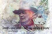 Photo Manipulation Mixed Media Framed Prints - John Wayne Framed Print by EricaMaxine  Price