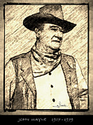 Award Drawings Prints - John Wayne Print by George Rossidis