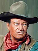 John Wayne Art Framed Prints - John Wayne Framed Print by James Shepherd