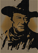 True Grit Drawings Metal Prints - John Wayne Lives Metal Print by Robert Margetts